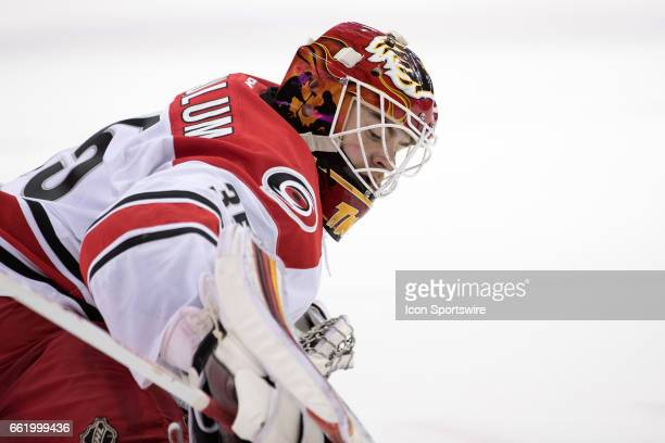 Charlotte Checkers G Tom McCollum during the second period of the AHL hockey game between the Charlotte Checkers and Cleveland Monsters on March 30...