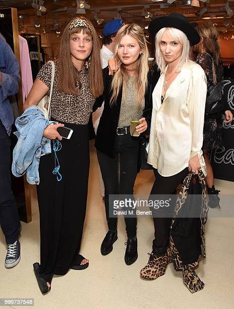 Charlotte Colbert Sophie Kennedy Clark and Shhh attend the launch of Bella Freud's new fragrance at Fenwick Of Bond Street on September 6 2016 in...
