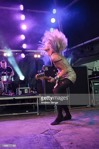 Charlotte Cooper of The Subways performs on stage during Cockrock music festival at Wellington Farm on July 20, 2012 in Cockermouth, United Kingdom.