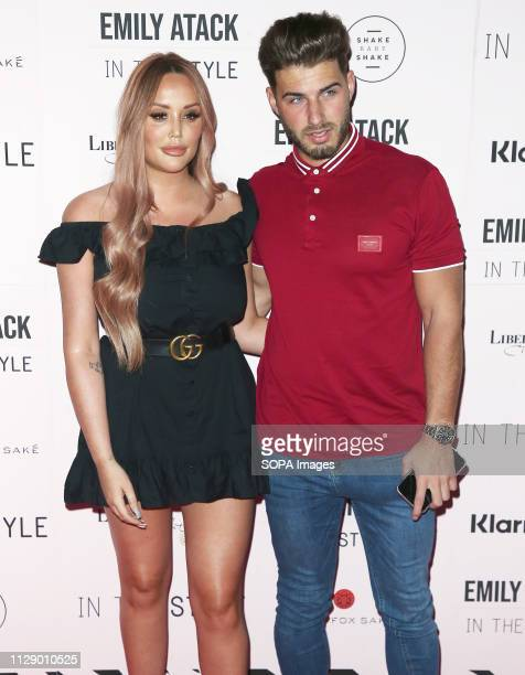 Charlotte Crosby and Joshua Ritchie attend the Emily Atack x In The Style Launch Party at Libertine in London