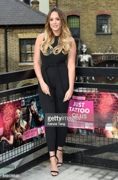 Charlotte Crosby attends a photocall for 'Just Tattoo Of Us Can You Deal With The Reveal' popup tattoo parlour on September 19 2017 in London United...