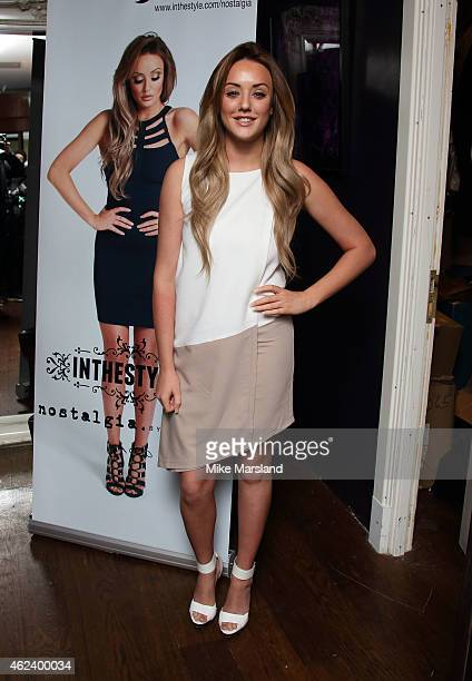 Charlotte Crosby attends a photocall to launch her fashion ranges at Soho Sanctum Hotel on January 28 2015 in London England