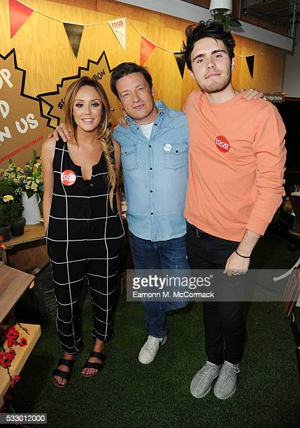 Charlotte Crosby Jamie Oliver and Alfie Deyes take part in Jamie Oliver's Food Revolution Day on May 20 2016 in London United Kingdom Jamie Oliver...