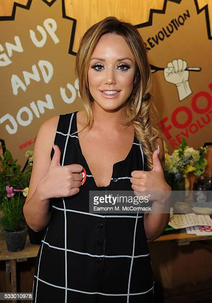 Charlotte Crosby takes part in Jamie Oliver's Food Revolution Day on May 20 2016 in London United Kingdom Jamie Oliver launches a Facebook 'Live'...
