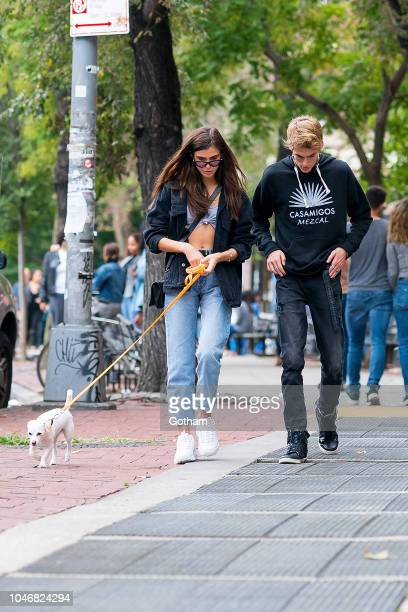 Charlotte D'Alessio and Presley Gerber are seen in the West Village on October 6 2018 in New York City