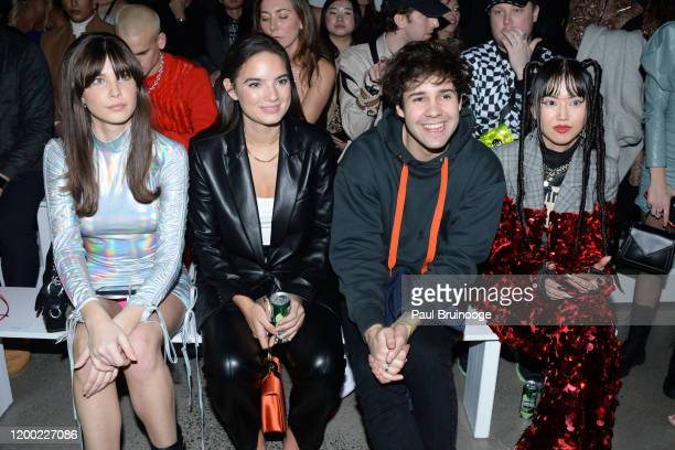 Charlotte D'Alessio Natalie Mariduena David Dobrik and MLMA attend Christian Cowan AW/20 Fashion Show on February 11 2020 at Spring Studios in New...