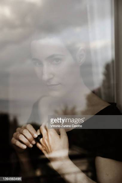 Charlotte Dauphin de La Rochefoucauld poses for the photographer ahead of the closing night of the Taormina Film Festival on July 19, 2020 in...