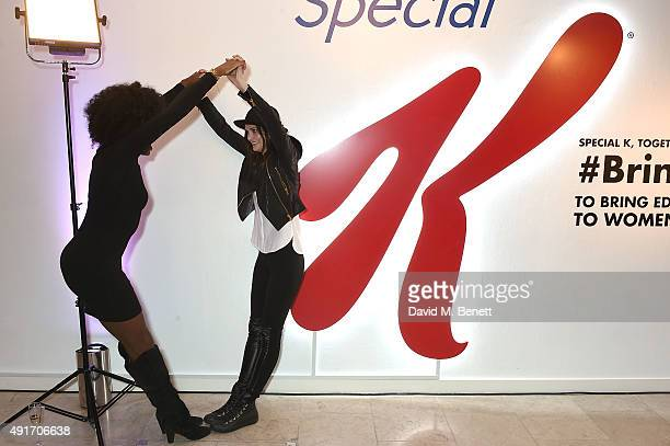 Charlotte de Carle and AJ Odudu attend the Special K Bring Colour Back launch at The Hospital Club on October 7 2015 in London England