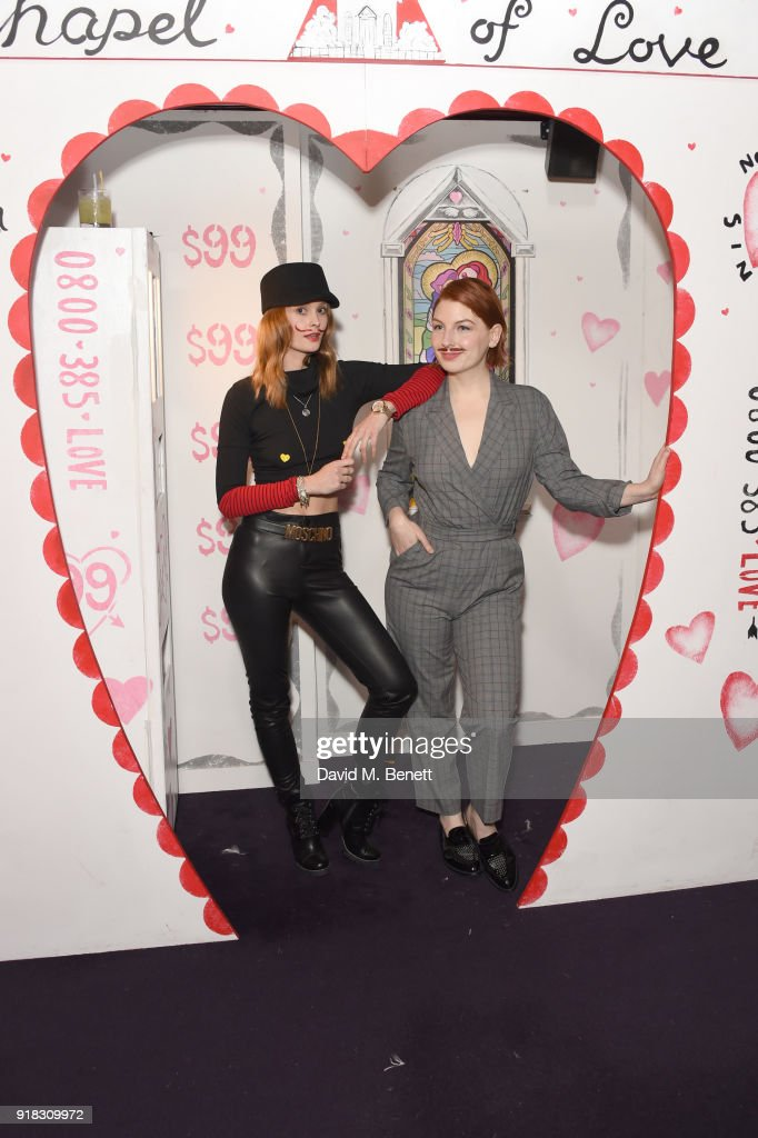 Charlotte de Carle (L) and Alice Levine attend the 'Valentines is a Drag' party, in association with the dating app Bumble, at Loulou's on February 14, 2018 in London, England.