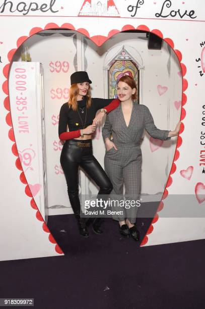 Charlotte de Carle and Alice Levine attend the 'Valentines is a Drag' party in association with the dating app Bumble at Loulou's on February 14 2018...