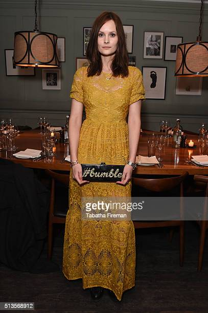 Charlotte De Carle attends a private dinner hosted by Whitney Wolfe founder and CEO of Bumble dating app at Soho House on March 3 2016 in London...