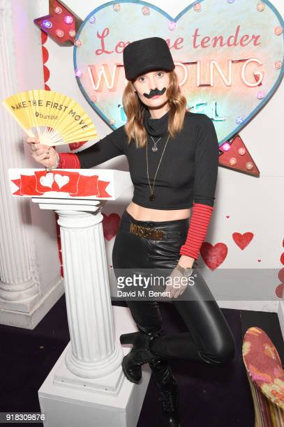 Charlotte de Carle attends the 'Valentines is a Drag' party in association with the dating app Bumble at Loulou's on February 14 2018 in London...