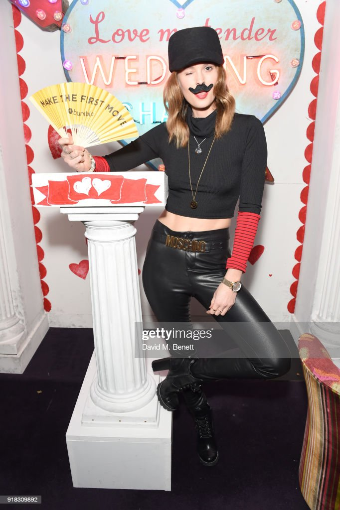 Charlotte de Carle attends the 'Valentines is a Drag' party, in association with the dating app Bumble, at Loulou's on February 14, 2018 in London, England.