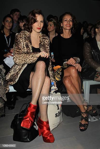 Charlotte Dellal and Andrea Dellal are seen on the front row the Emilio de la Morena show at London Fashion Week Autumn/Winter 2011 on February 22...