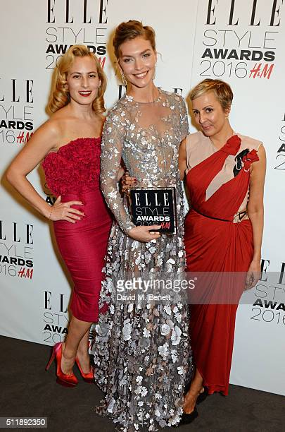 Charlotte Dellal Arizona Muse winner of the Fashion Director's Woman of the Year award and AnneMarie Curtis pose in the winners room at The Elle...