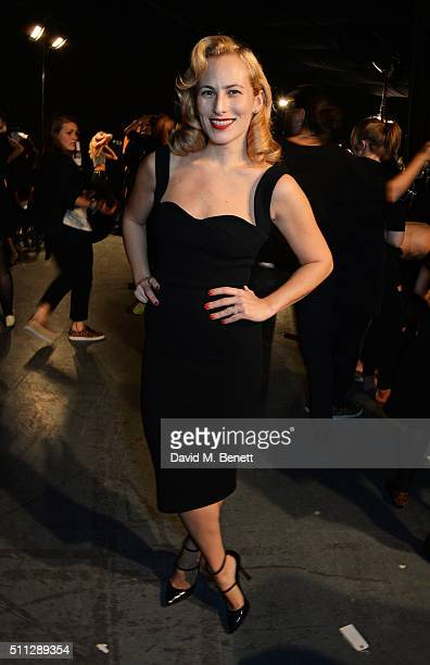 Charlotte Dellal poses backstage at the Charlotte Olympia Fall 16 catwalk show at The Roundhouse on February 19 2016 in London England