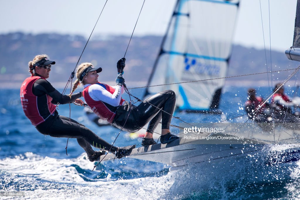 Charlotte Dobson and Saskia Tidey from the British Sailing Team sail their 49er FX during the ISAF Sailing World Cup Hyeres on APRIL 29, 2017 in Hyeres, France.