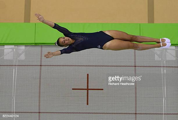 Charlotte Drury of the USA competes during the Trampoline Gymnastics Qualification at the Rio Olympic Arena on April 19 2016 in Rio de Janeiro Brazil