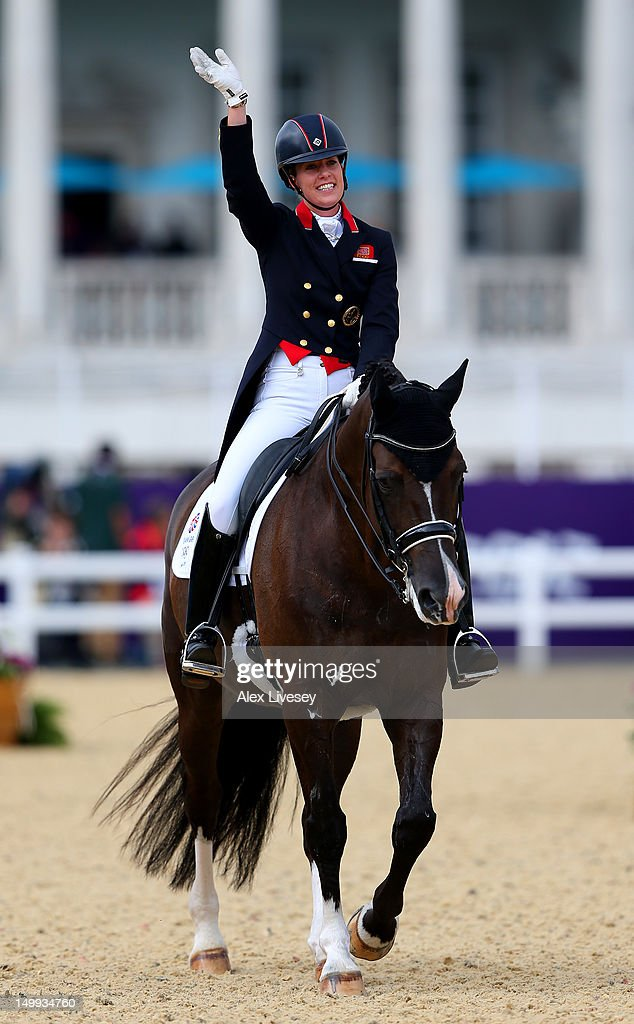 Charlotte Dujardin of Great Britain riding Valegro celebrates after competing in the Team Dressage Grand Prix Special on Day 11 of the London 2012 Olympic Games at Greenwich Park on August 7, 2012 in London, England.