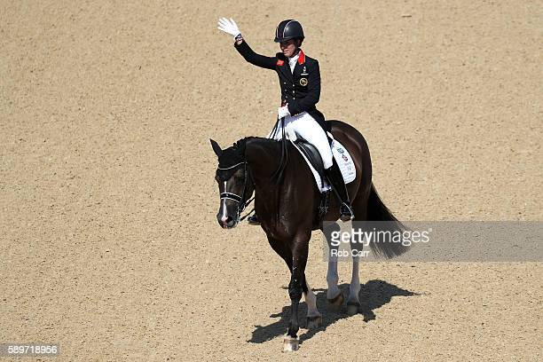 Charlotte Dujardin of Great Britain riding Valegro competes in the Dressage Individual Grand Prix Freestyle on Day 10 of the Rio 2016 Olympic Games...