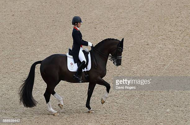 Charlotte Dujardin of Great Britain riding Valegro who won a team silver medal perform during the final day of the Dressage Grand Prix event on Day 7...
