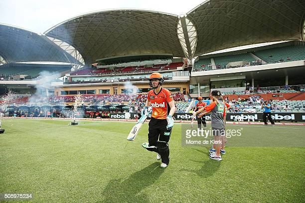 Charlotte Edwards and Elyse Villani of the Perth Scorchers take to the field during the Women's Big Bash League match between the Sydney Thunder and...