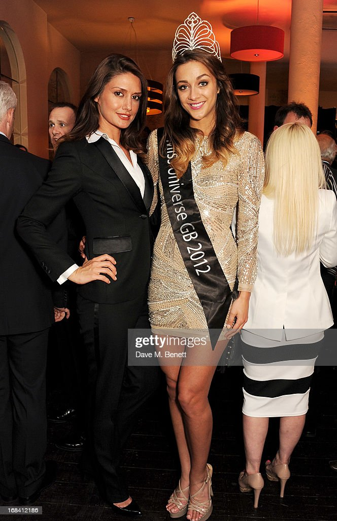 Charlotte Edwards (L) and Miss Universe GB 2012 Holly Hale attend 'A Night of Sporting Gold' hosted by bespoke tailor Apsley at their Pall Mall showroom on May 9, 2013 in London, England.