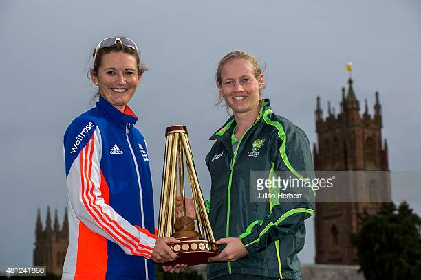 Charlotte Edwards captain of England and Meg Lanning captain of Australia with The Ashes Trophy at the launch of The Women's Ashes Series at The...