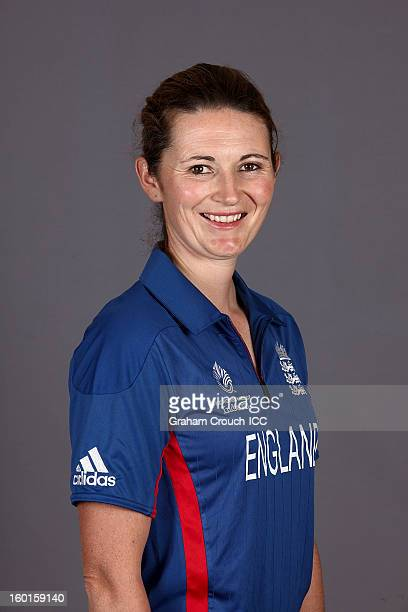 Charlotte Edwards Captain of England attends a portrait session ahead of the ICC Womens World Cup 2013 at the Taj Mahal Palace Hotel on January 27...
