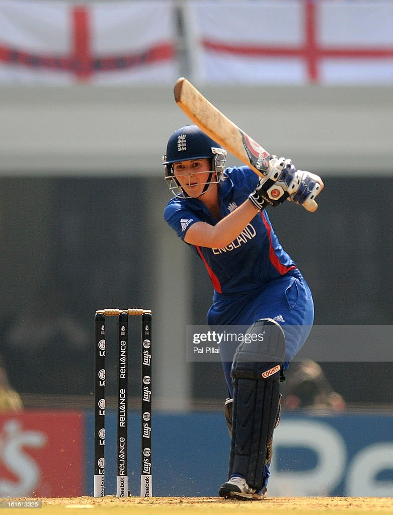 Charlotte Edwards captain of England bats during the Super Sixes match between England and New Zealand held at the CCI (cricket club of India) on February 13, 2013 in Mumbai, India.