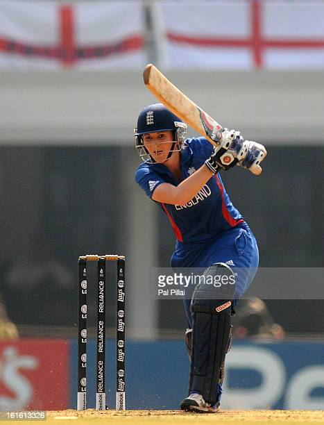 Charlotte Edwards captain of England bats during the Super Sixes match between England and New Zealand held at the CCI on February 13 2013 in Mumbai...
