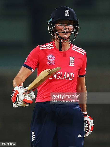 Charlotte Edwards Captain of England celebrates her half century during the Women's ICC World Twenty20 India 2016 match between England and Pakistan...