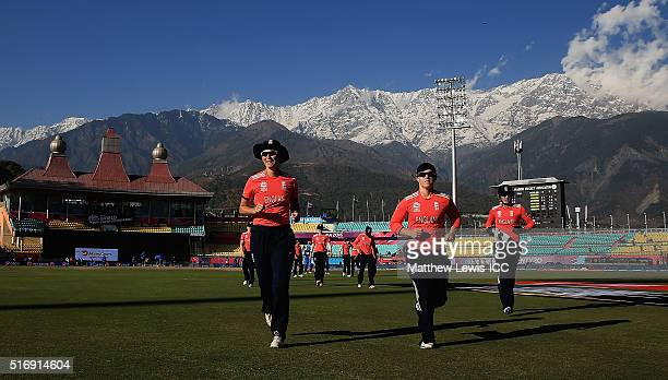 Charlotte Edwards Captain of England leadsher team off the field during the Women's ICC World Twenty20 India 2016 match between England and India at...