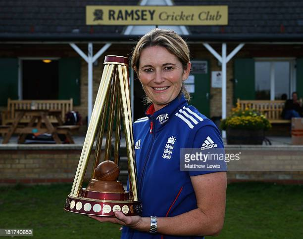 Charlotte Edwards Captain of the England Womens team takes the Ashes Trophy Back to Her Home Club of Ramsey CC on September 24 2013 in Ramsey England