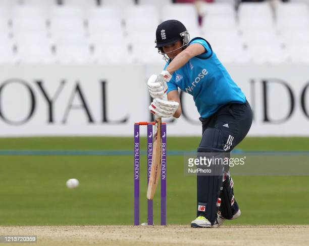 Charlotte Edwards of England batting during the First One Day International between England Women and India Women at Scarborough CC, North Marie...