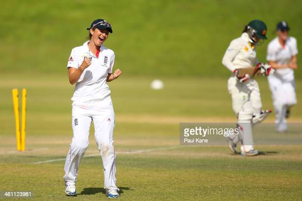 Charlotte Edwards of England celebrates the dismissal of Nicole Bolton of Australia during day two of the women's tour match between Australia...