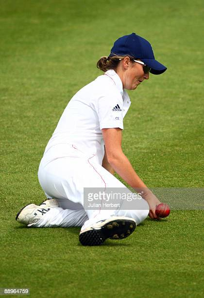 Charlotte Edwards of England fields during Day One of The 1st Test between England Women and Austarlia Women at New Road on July 10 2009 in Worcester...