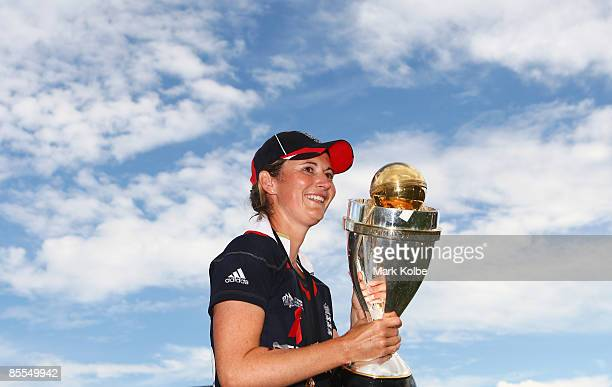 Charlotte Edwards of England holds the trophy after England won the ICC Women's World Cup 2009 final match against New Zealand at North Sydney Oval...