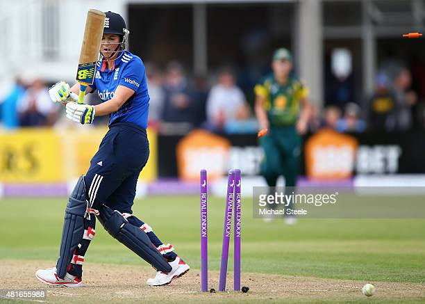 Charlotte Edwards of England is bowled by Megan Schutt of Australia during the 2nd Royal London ODI of the Women's Ashes Series between England and...