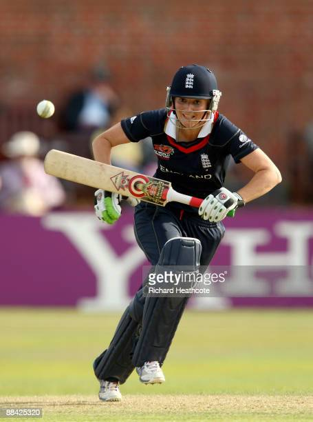 Charlotte Edwards of England starts to sprint between the wickets for a run during the ICC Women's Twenty20 World Cup match between India and England...