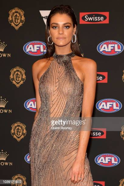 Charlotte Ennels arrives ahead of the 2018 Brownlow Medal at Crown Entertainment Complex on September 24 2018 in Melbourne Australia