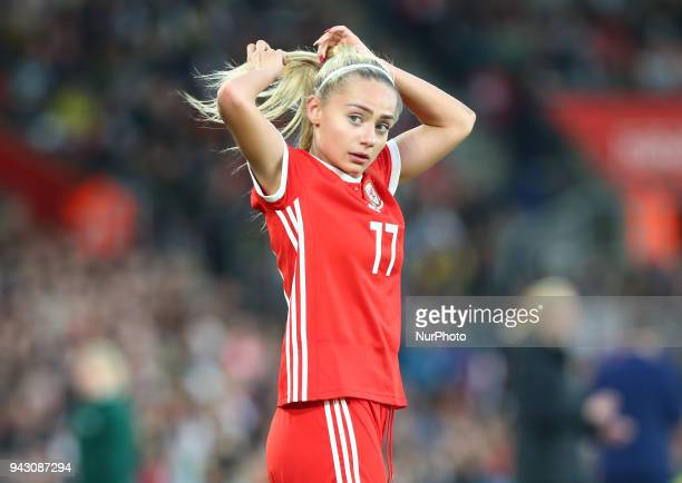 Charlotte Estcourt of Wales Women during 2019 FIFA Women's World Cup Group 1 qualifier match between England and Wales at StMary's Southampton FC...