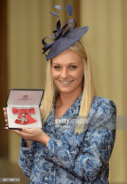 Charlotte Evans after she was awarded an MBE for services to Sport for People with a Visual Impairment at an investiture ceremony at Buckingham...