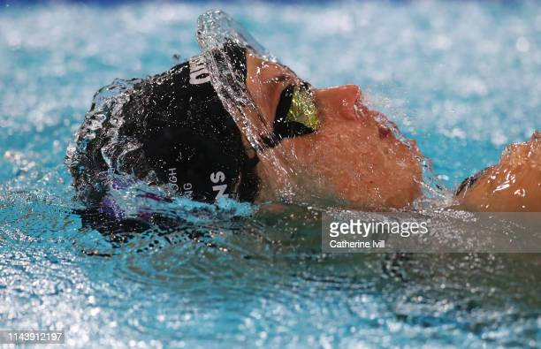 Charlotte Evans competes in the Women's 50m Backstroke heats during Day Five of the British Swimming Championships at Tollcross International...
