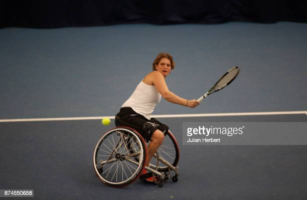Charlotte Famin of France in action during The Bath Indoor Wheelchair Tennis Tournament on November 15 2017 in Bath England