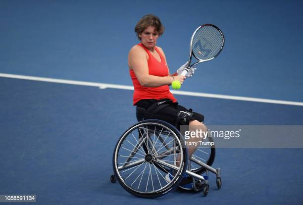 Charlotte Famin of France plays a shot during Day Two of the Bath Indoor Wheelchair Tennis Tournament 2018 at the University of Bath on November 7...