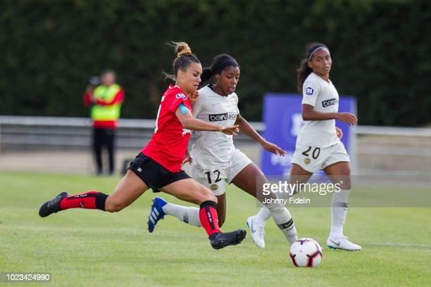 Charlotte Fernandes of Fleury and Ashley Lawrence of PSG during Ligue 1 match between Fleury and Paris Saint Germain PSG on August 25 2018 in...