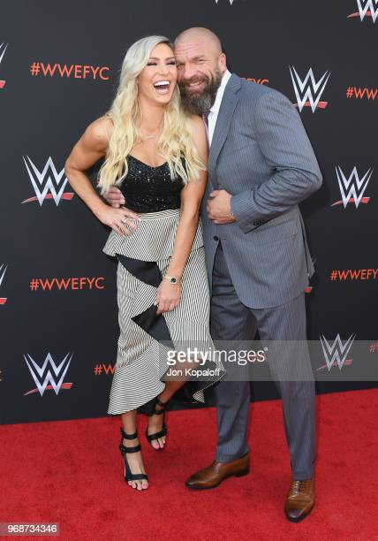 Charlotte Flair and Paul Triple H Levesque attend WWE's FirstEver Emmy For Your Consideration Event at Saban Media Center on June 6 2018 in North...