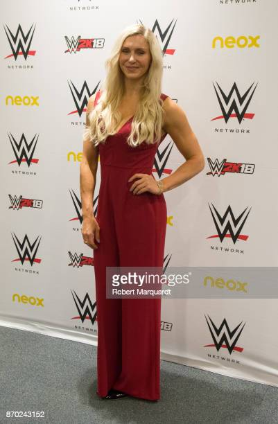 Charlotte Flair attends a press conference for 'WWE' at the Hotel Four Points on November 4 2017 in Barcelona Spain