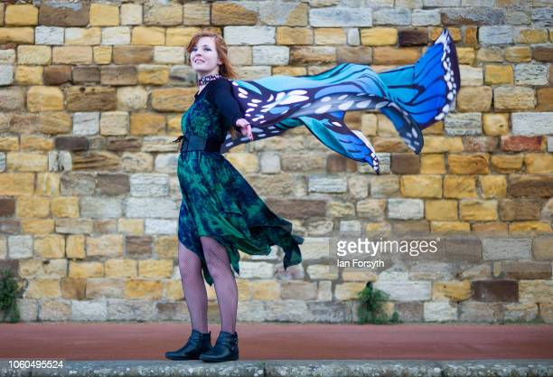 Charlotte from Scarborough poses for a photograph dressed as a butterfly during Whitby Goth Weekend on October 28 2018 in Whitby England Whitby Goth...